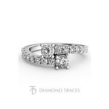 1.46ctw H-VS1 Ideal Round AGI Diamonds 14k Gold Two-Stone Anniversary Ri... - $1,669.14