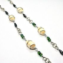 Necklace the Aluminium Long 90 Inch with Seashells Hematite Crystals Green image 8