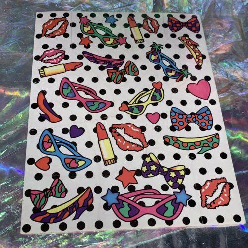 Vintage  S125 Lisa Frank Full Sticker Sheet Lips Sunglasses Glamour