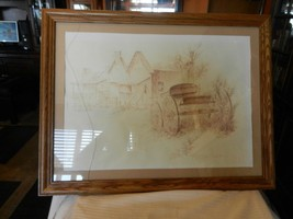 VINTAGE FRAMED PENCIL DRAWING OF A WESTERN TOWN & CARRIAGE by ROBERT AND... - $148.49