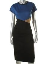 Anne Klein Women Black Blue Cap Sleeves Colorblock Wear to Work Dress 2 - $38.24