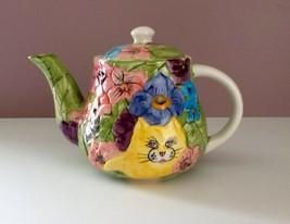 Whimsical Cat Teapot w/ Flowers Pink/Purple/Blue/Green CBK LTD 1995 - $29.00