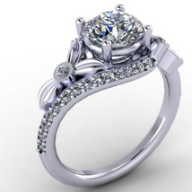 Certified 2.45Ct Flower Style Round Cut Diamond Engagement Ring 14K Whit... - £238.62 GBP