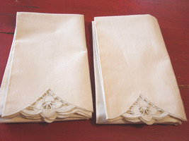 """Pillowcases Vintage Cutwork Trim Set of Two Cream Colored 21"""" by 34"""" inches - $11.63"""