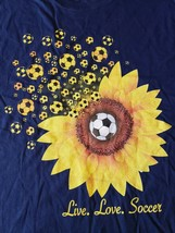Live Love Soccer Graphic T-Shirt Blue L - $12.62