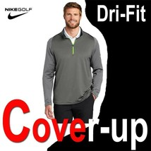 NIKE GOLF DRI-FIT STRETCH 1/2-ZIP COVER-UP PULLOVER GREY VOLT 779795-021... - $77.39