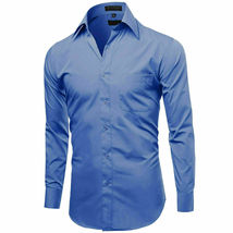 Omega Italy Men's French Blue Dress Shirt Long Sleeve Slim Fit w/ Defect 3XL image 3