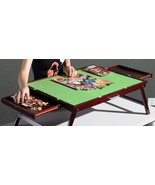 FOLDING TILTING WOODEN JIGSAW PUZZLE STORAGE TABLE Board+2 DRAWERS+US STOCK - $2.465,73 MXN