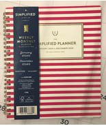 Simplified Emily Ley 2020 Weekly Monthly Planner Spiral Pink Stripe 9x7.... - $22.76