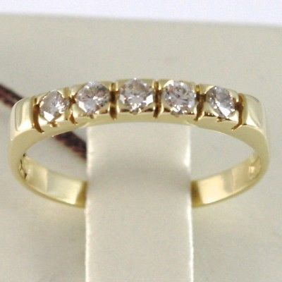 18K YELLOW GOLD BAND RING WITH 5 DIAMONDS, 0.25 CT ENGAGEMENT, MADE IN ITALY