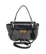 Auth Givenchy Bicolor Monogram Canvas n Leather Trim Flap Lock Key Closu... - $313.23