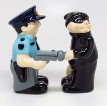 Cop and Robber Attractives Salt Pepper Shaker Made of Ceramic - $12.38