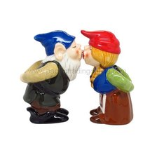 Kissing Gnome Couple 4 Inch Ceramic Magnetic Salt and Pepper Shaker Set ... - $12.42