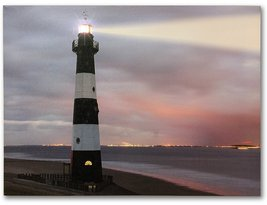 Lighthouse Wall Art - LED Light Up Canvas Print - Nautical Light House S... - $14.99