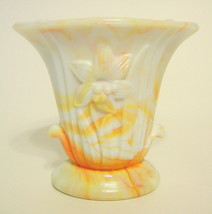 Small Akro Agate Lily Vase White and Orange Slag Depression Glass - $24.94