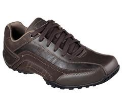 64932 Brown Skechers shoes Men Memory Foam Dress Casual Comfort Leather ... - £30.53 GBP