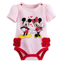 Disney Store Mickey & Minnie Mouse Short Sleeve Bodysuit Baby Girls, 0-3... - $13.50