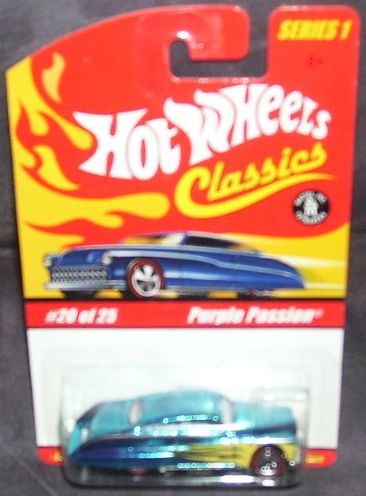 Hot Wheels Classics Purple Passion BLUE w/Yellow Flames Series 1 #20 of 25