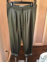 Pre-owned Diane von Furstenberg Olive Silk Drawstring Jogger Pants SZ 2 - $74.25