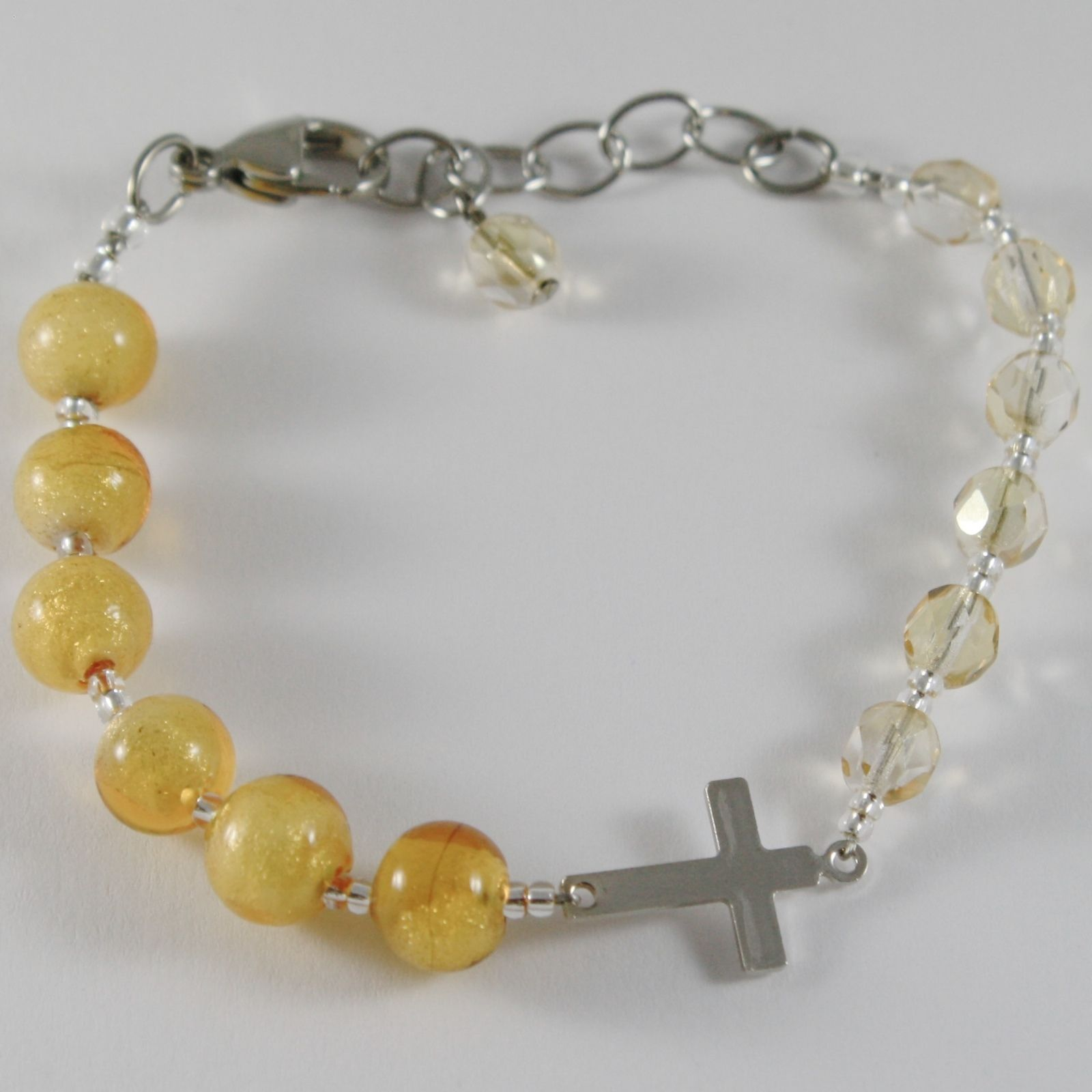 ANTICA MURRINA VENEZIA ROSARY BRACELET YELLOW BALLS SPHERE WITH JESUS CROSS