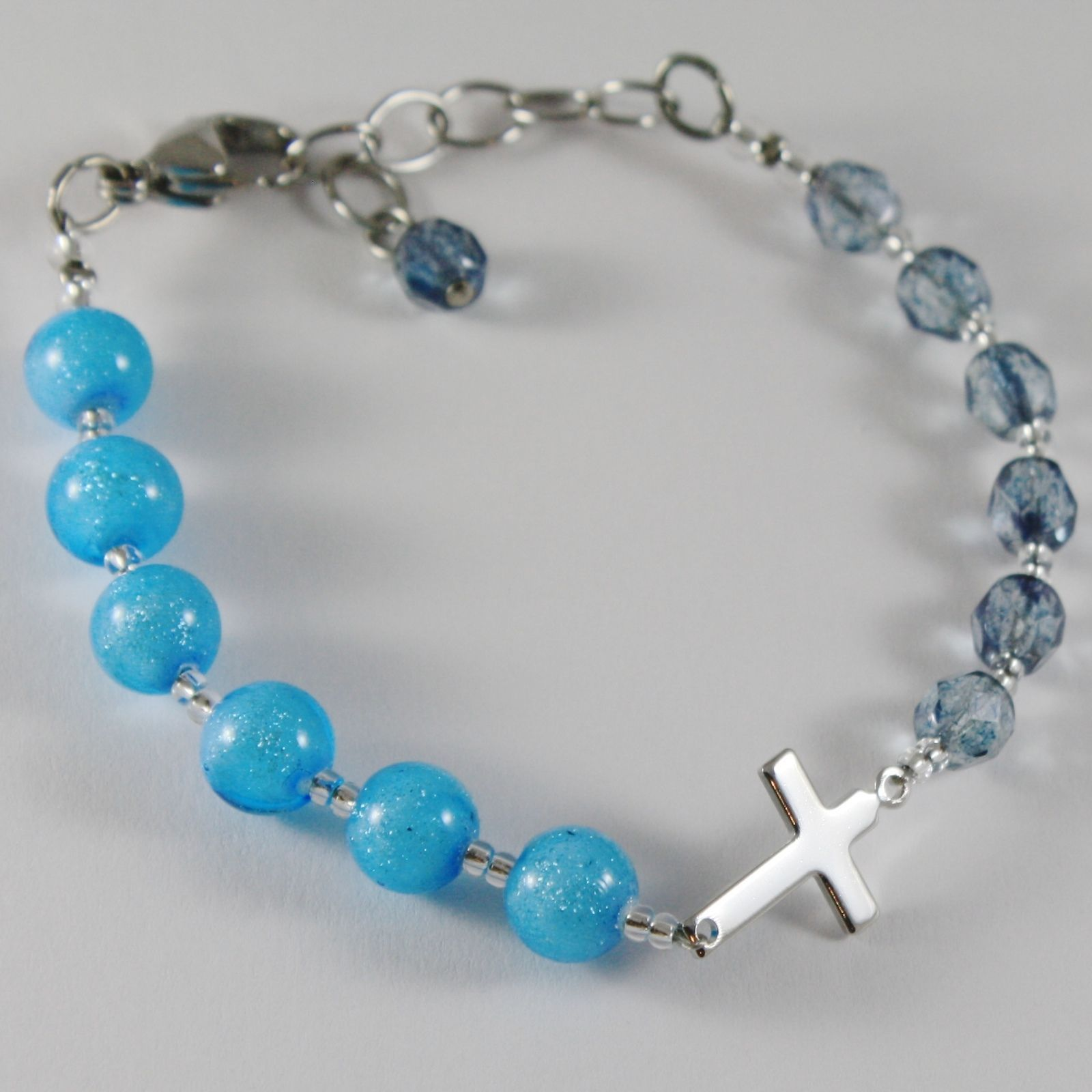 ANTICA MURRINA VENEZIA ROSARY BRACELET BLUE BALLS SPHERE WITH JESUS CROSS