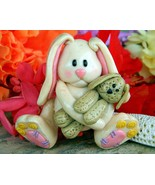 Bunny Rabbit Floppy Ears Figural Brooch Pin Polymer Clay Handcrafted - $21.95