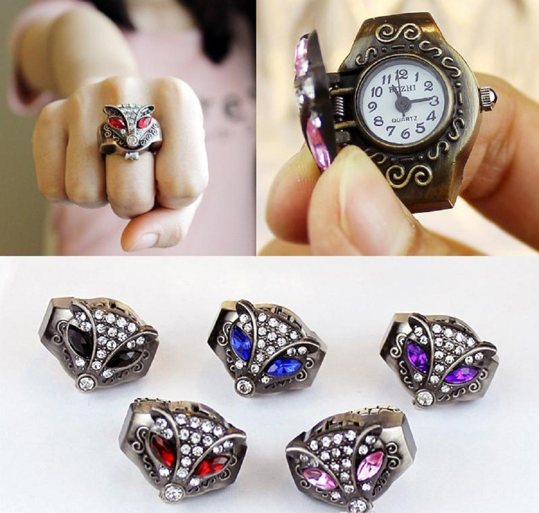 Fashion Classic Vintage Fox Ring Quartz Watch Women Men Adjustable - 1x w/Ran...
