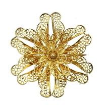 ANTIQUE STERLING VERMEIL FILIGREE WIRE WORK 3D SEED PEARL FLOWER BROOCH PIN - $145.79