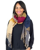 Large Color-block Fringe Winter Scarf, Yellow Grey Red Blue Beige - £4.94 GBP