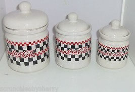 Coke Coca Cola Canisters Checker Board Design 1996 Ceramic Lot of 3 - $119.95