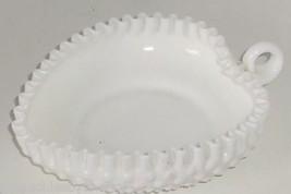 Fenton Heart Bowl Candy Nut Milk Glass White Hobnail Vintage Ruffled Edge  - $49.95