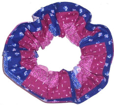 Hair Scrunchie Blue Pink Purple Patchwork Scrunchies by Sherry Ponytail Holder - $6.99