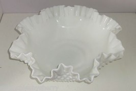 Fenton Serving Bowl Milk White Hobnail Vintage Marked Large Fruit Ruffle... - $134.95