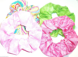 Paisley Pink Lime Green Hair Scrunchies by Sherry Ponytail Holder Lot of 4 - $24.95