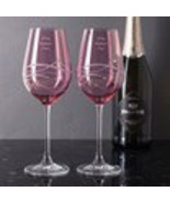 Personalised set of 2 Pink Diamante Wine Glasses with Spiral Design Cutt... - $55.95