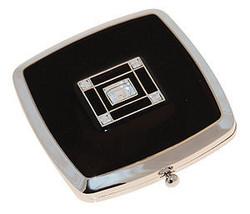 Personalised Square sensation Silver Mirrror w/ black enamel and Swarovski cryst - $27.99