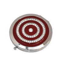 Personalised  Swarovski crsytals round mirror in burgundy enamel background - $24.99