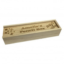 Personalised wooden pencil case with slidding lid. - $28.99