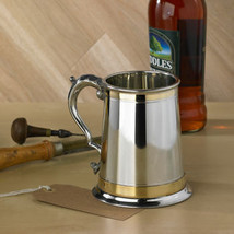 Personalised Monarch Double Brass Band Pewter Tankard - $55.00