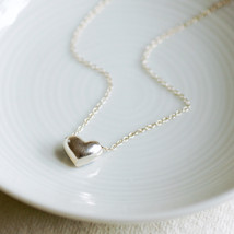 Sterling silver heart drop necklace - $25.00