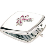 Personalised dragonfly square handbag mirror with Swarovski elements - $14.99