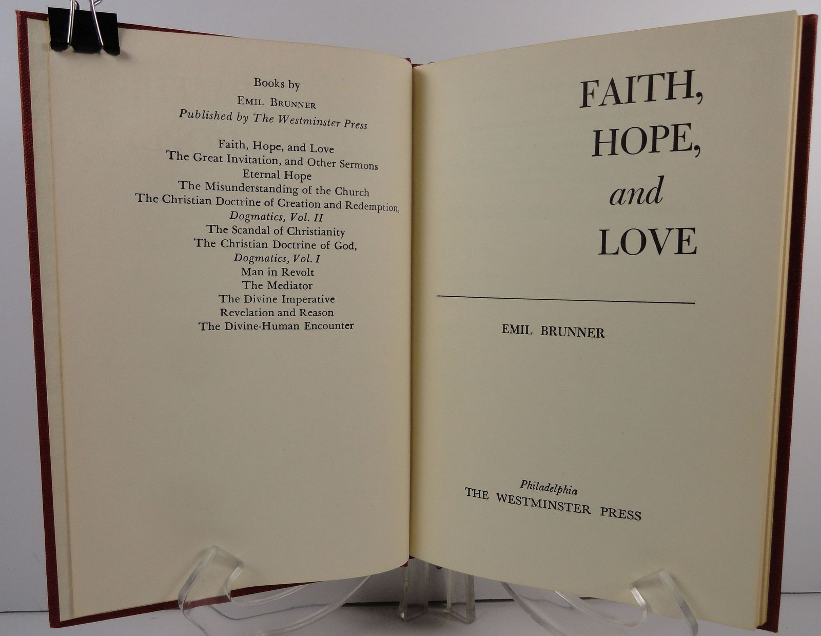 Faith  Hope and Love by Emil Brunner 1956 Westminster Press