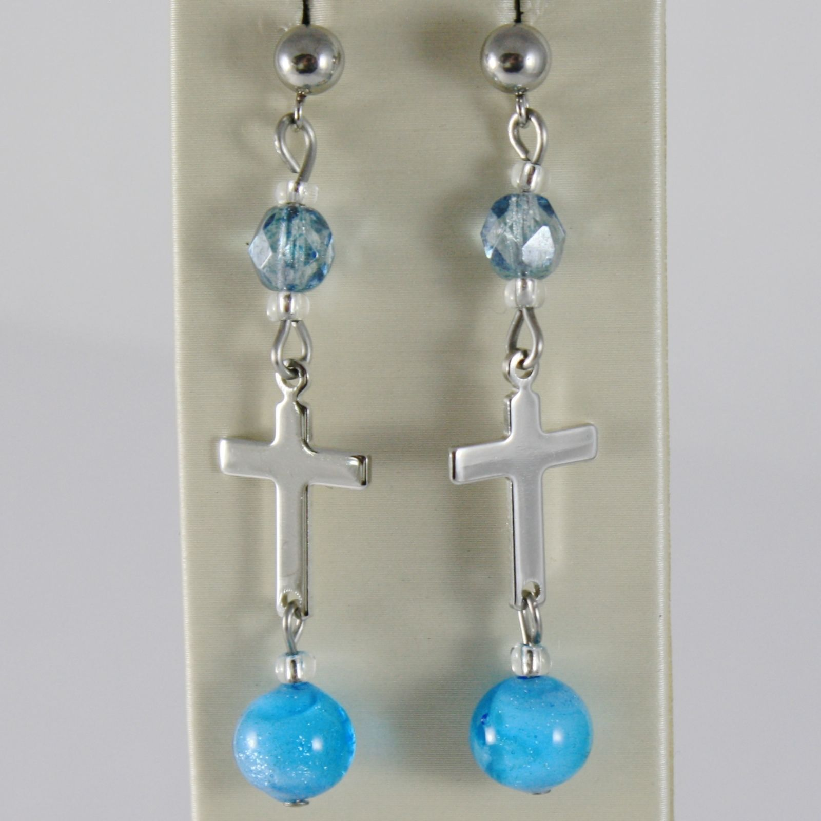 ANTICA MURRINA VENEZIA PENDANT EARRINGS BLUE WITH CROSS AND SPHERES BALLS BALL