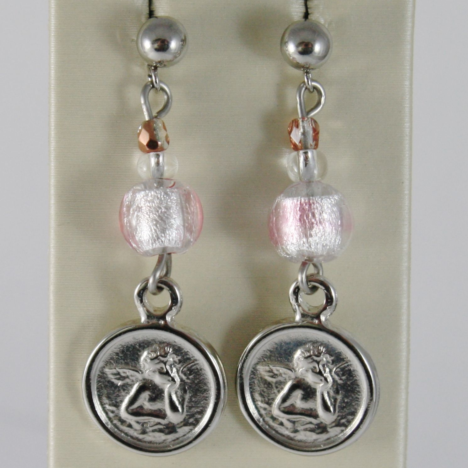 ANTICA MURRINA VENEZIA PENDANT EARRINGS ANGEL MEDAL AND PINK SPHERES BALLS BALL