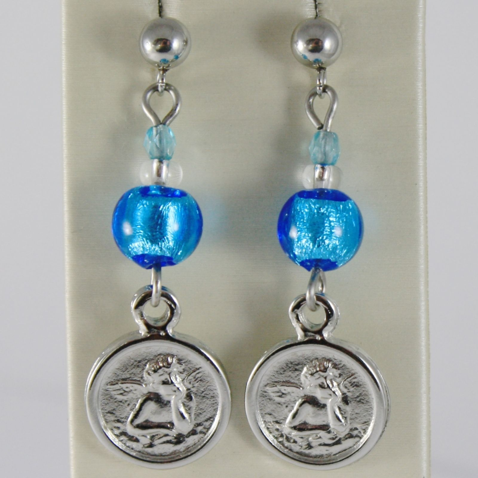ANTICA MURRINA VENEZIA PENDANT EARRINGS ANGEL MEDAL AND BLUE SPHERES BALLS BALL