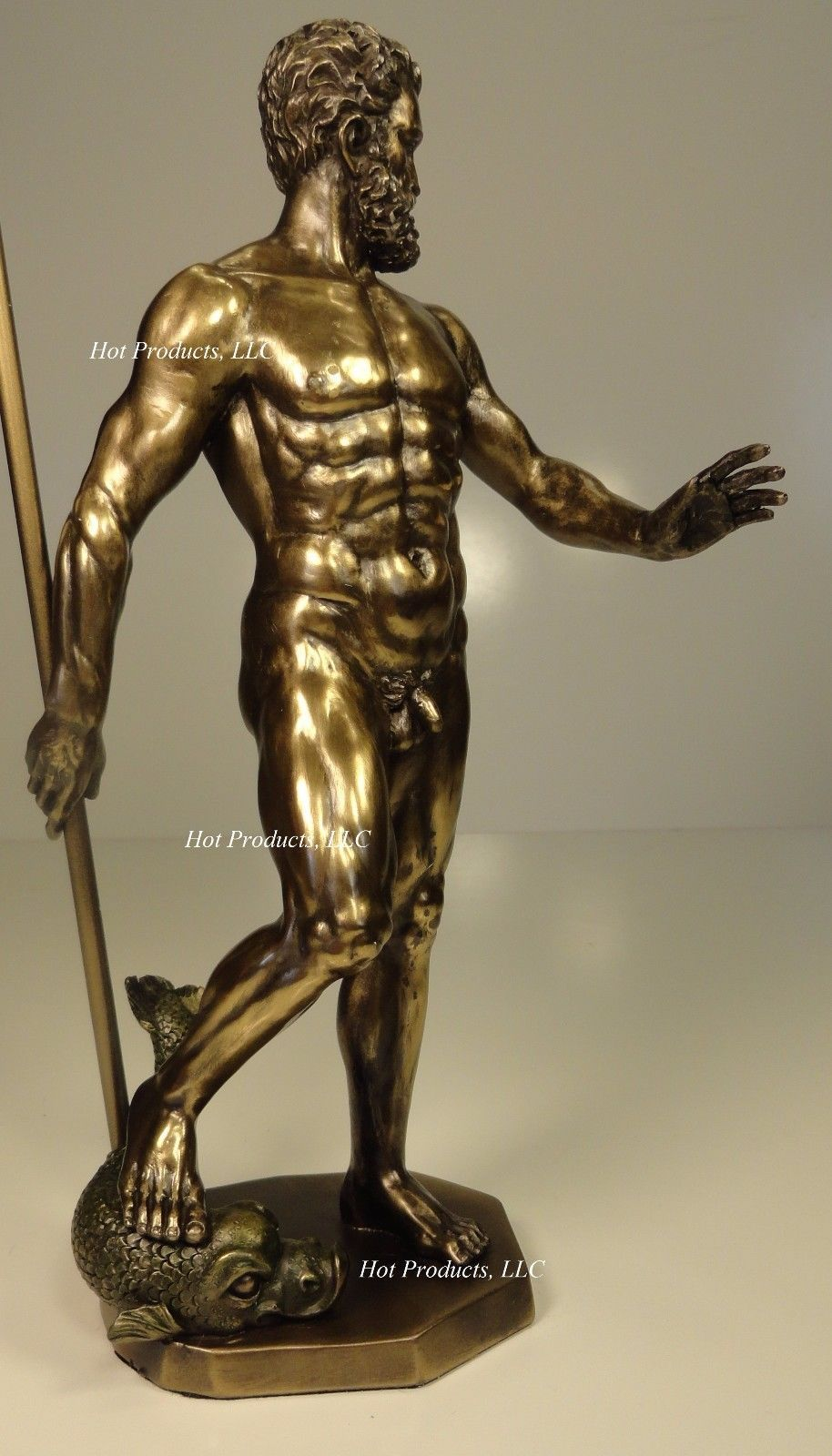 Poseidon god of sea w trident greek mythology nude male statue bronze finish people - Poseidon statue greece ...