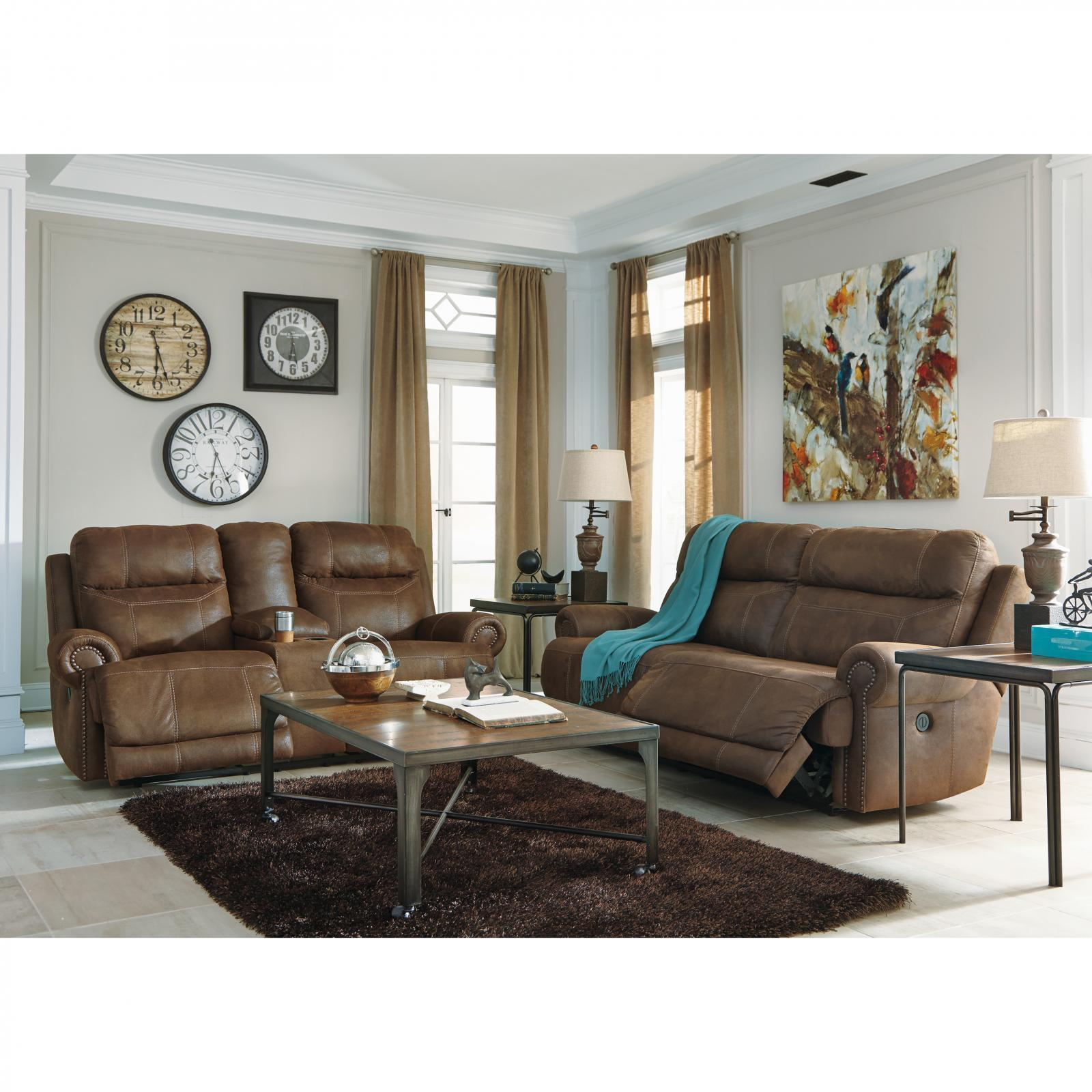 Ashley Austere 3 Piece Power Living Room Set in Brown Contemporary Style
