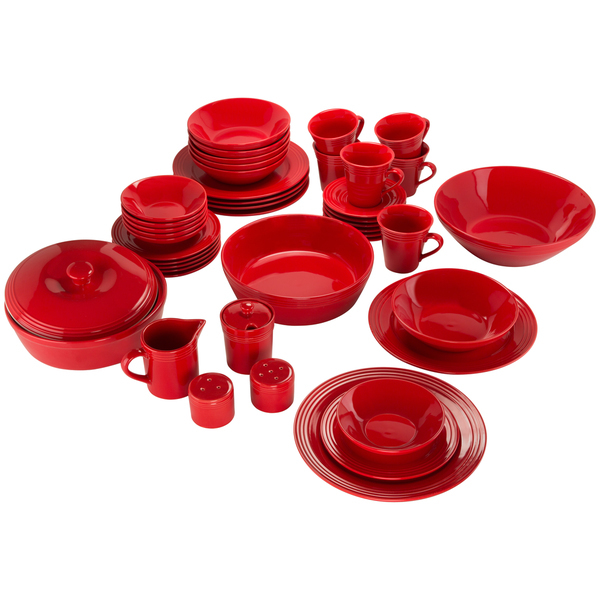 45 Piece Porcelain Tableware Dinnerware Set Red Dinnerware Set Dinner Plates