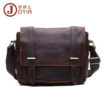 Men Real Vintage Leather Sling Shoulder Satchel Foldover Flap Lock Messe... - $70.11
