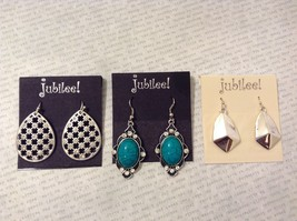 NEW Jubilee Silvertone Crystal Turquoise Stone Hook Dangle Earrings
